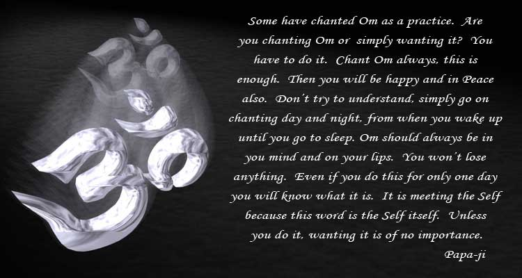 Some have chanted Om as a practice.  Are you chanting Om or simply wanting it?  You have to do it.  Chant Om always, this is enough.  Then you will be happy and in Peace also.  Dont try to understand, simply go on chanting day and night, from when you wake up until you go to sleep.  Om should always be in you mind and on your lips.  You wont lose anything.  Even if you do this for only one day you will know what it is.  It is meeting the Self because this word is the Self itself.  Unless you do it, wanting it is of no importance.